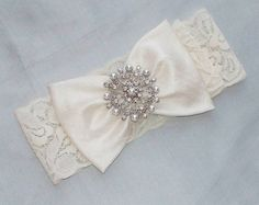 Vintage Inspired Wedding Garter with Silk Bow Gathered by a Pearl and Rhinestone Brooch (in photo), Incl. Lace Toss - The SOPHIA Garter Garter Belt Wedding, Lace Garter, Bride Garter, Garter Belts, Dream Wedding, Wedding Day, Wedding Dress, Gothic Wedding, Wedding Photos