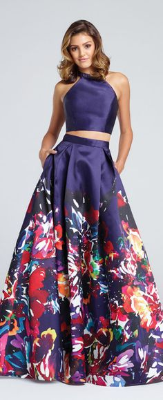 Purple two piece dress with colorful flowers on the bottom by Ellie Wilde