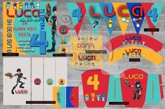 """Cumpleaños 4 de Luca: Temática: """"Bajo Terra"""" - Diseño de Invitación, envoltorios para golosinas, Wrappers, Circulos multiporposito, Banderines, Fajas Golosineras y Cajas p/ golosinas o cereales."""