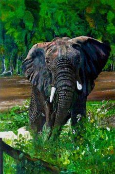 "Saatchi Art Artist alice P jenkins; Painting, ""Elephant"" #art"