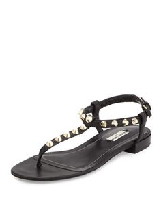 Studded+Leather+Thong+Sandal,+Noir+by+Balenciaga+at+Neiman+Marcus.