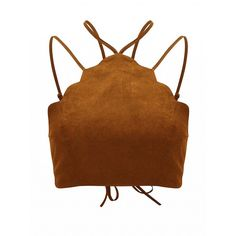 Choies Brown Suedette Halter Lace Up Back Scalloped Trim Bralet ($13) ❤ liked on Polyvore featuring tops, brown, tie halter top, halter neck tops, laced up top, scallop hem top and brown halter top