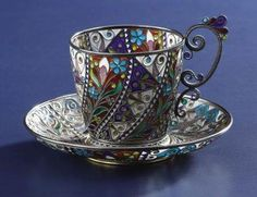 A Norwegian Plique-a-Jour Cup and Saucer Marius Hammer, Oslo, Norway Circa 1900 Silver gilt and enamel Marks: M - Available at 2007 November Fine Decorative. Tea Cup Set, My Cup Of Tea, Tea Cup Saucer, Tea Sets, Teapots And Cups, Teacups, Cuppa Tea, China Tea Cups, Vintage Tea