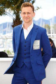 Tom Hiddleston... Wearing a TARDIS suit...