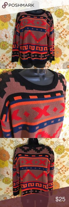 Vintage Tribal / Aztec Print Sweater Size large. Excellent condition. Very cozy. Great colors! Very cute, also can be worn as an oversized medium sweater.  🚫NO TRADES/ PAYPAL ✔ALL PRICES ARE NEGOTIABLE, PLEASE USE OFFER BUTTON ❤️BUNDLE TO SAVE! ❗️HAVE A QUESTION? JUST ASK! ⏳I ONLY HOLD ITEMS FOR 24 HOURS Sweater Bazaar Sweaters Crew & Scoop Necks