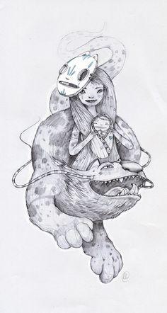 Hand drawing creatures by luiza kwiatkowska, via Behance