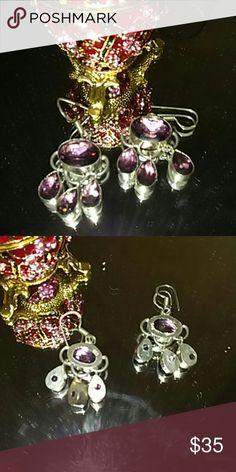 925 sterling silver amethyst stone arrings Genuine 925 sterling silver lab created amethyst stones  earrings handmade Jewelry Earrings