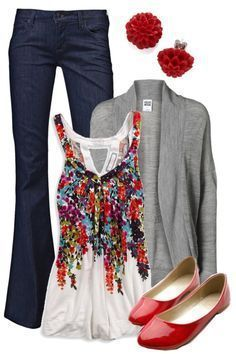 """""""Teacher, Teacher 146"""" by qtpiekelso on Polyvore I'm a big fan of the cardigan or open sweater as a third piece. Depending where you live, they can play a role in your wardrobe most of the year. But this tank with floral red pattern takes the cake! Great for spring, summer and fall. Bright, red flats are fun!"""