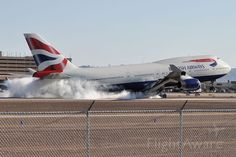 British Airways Boeing 747-400 (G-CIVB) at KPHX - Phoenix performing a hard landing!