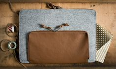 "NEW!!! Grey Felt MacBook 12"" Sleeve / Case / Cover -MacBook 12 Air Sleeve - Grey Wool Felt with Brown Leather by MrArtigiano on Etsy"
