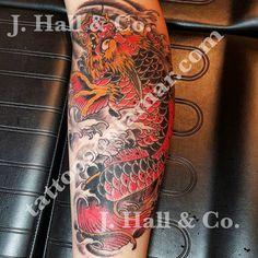 Josh Hall  #mrhalltattooer 972-863-3518 #bestofdallas #dallastattooartist #dallastattooshop #darkartists #japanesetraditional #jhcgt #koidragon #tattoosthatmakeyoulooktough #traditionaltattoo