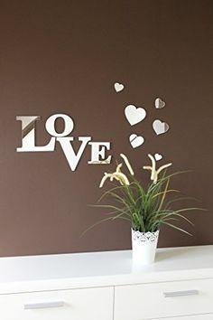 """Love"" 3D Wandtattoo aus Spiegelacryl / Plexiglas CHRISCK design http://www.amazon.de/dp/B0100TEWJA/ref=cm_sw_r_pi_dp_okOJvb07VZHKT"
