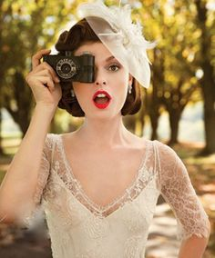 retro wedding hairstyles with birdcage veil hat