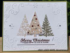CHRISTMAS HANDMADE CARD KIT, SET OF 4 STAMPIN' UP FESTIVAL OF TREES   #HandmadeStampinUp #Christmas
