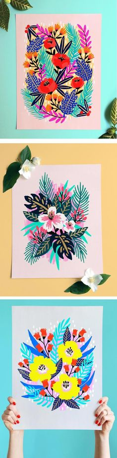 Jess Phoenix loves color, and she creates electric floral paintings that are adorned with gold and neon paint. Most the bouquets are imagined.