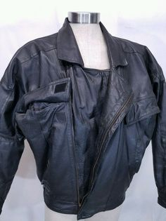 Pere Mar Motorcycle Black Leather Vtg Double Breasted Biker Jacket Mens  Large  PerMar  Motorcycle 587d36680d