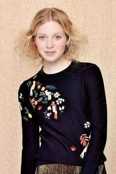 a310315971d2e Des Petits Hauts Amsterdame Embroidered Knit with bright folk inspired  print   Autumn Winter 2017