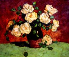 White Roses : Stefan Luchian : Impressionism : still life - Oil Painting Reproductions Famous Flower Paintings, Floral Paintings, Still Life Oil Painting, Thing 1, Post Impressionism, Art Database, Oil Painting Reproductions, White Roses, Flower Art
