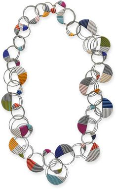 Bonnie Bishoff coiled loops of tigertail (nylon coated wire) and embedded part of each coil in striped half-circles of polymer to make this light, bouncy necklace. It can be doubled into a short curly version. Assembling it must have been trick [...]