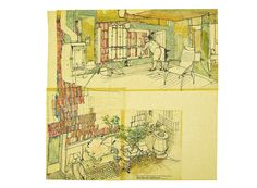 Sketch showing the relationship between living room of House C and the courtyard © Peter Salter