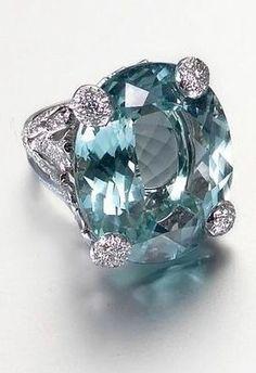 Dior Aquamarine, Diamond and Platinum Ring