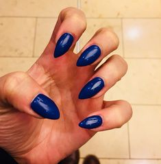 January almond stilletto acrylic blue nails