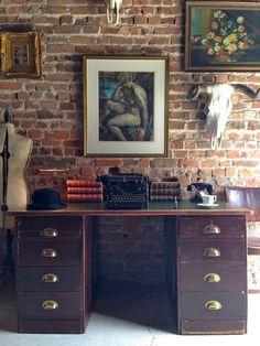 Antique Desk Double Pedestal Writing Desk, Shabby Chic, Vintage | eBay