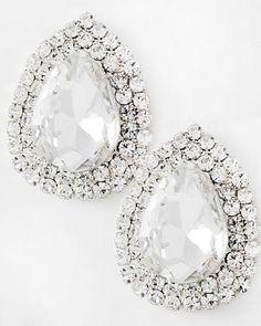 Silver Tone / Clear Glass & Rhinestone / Lead Compliant / Tear Drop Button / Post Earring Set