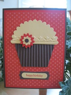 Cupcake with scallop circle and tulip embossing folder