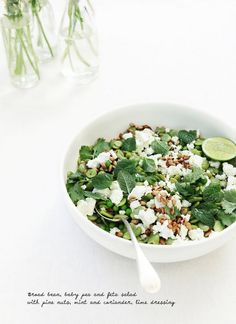 Broad bean, baby peas + feta salad with pine nuts, mint and coriander, lime dressing