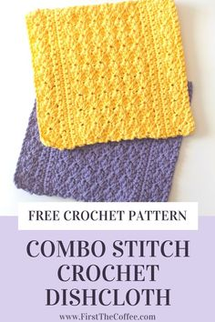 Get this free crochet dishcloth pattern. The combo stitch dishcloth pattern is a fast and easy dishcloth that you can crochet quickly. Free crochet pattern that is easy to make and is a great crochet project for beginners. Stitch Crochet, Crochet Stitches, Crochet Blanket Patterns, Crochet Dishcloths Free Patterns, Dishcloth Crochet, Crochet Blankets, Crochet Afghans, Wash Cloth Crochet Pattern, Crochet Ideas