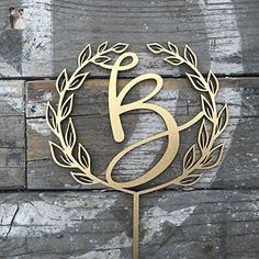 """Initial with Open Wreath Wedding Cake Topper 5.5"""" inches Laser Cut by Ngo Creations - Cake and cupcake toppers (*Amazon Partner-Link)"""