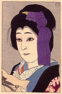 Natori Shunsen (1836-1960). Utaemon as Ko Murasaki. From Shin Nagao (New Portraits) magazine. 1915. Image size 110 mm x 161 mm.
