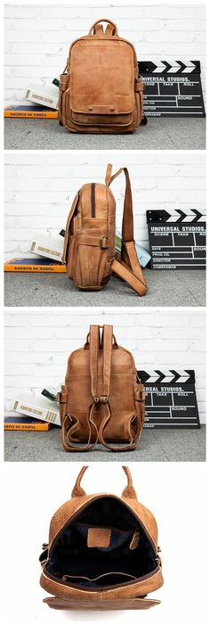 Leather Backpack Roll Top Backpack, Brown Leather Backpack, Laptop Backpack  MS017 b22b71e7be