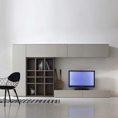 Modern Italian TV media unit Grey & wood by Santa Lucia