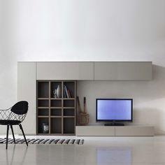 Modern Italian TV media unit Grey & wood by Santa Lucia