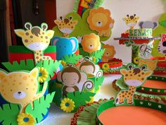 DECORACIONES INFANTILES: animalitos de la selva Safari Party, Jungle Party, Safari Theme, Jungle Theme Birthday, Boy First Birthday, Birthday Party Themes, Baby Mickey, Mickey Mouse, Baby Shower Themes