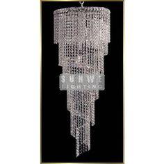 9 lights spiral crystal chandelier in polished chrome finish - Small crystal chandeliers - Chandeliers