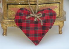 #Red #Tartan Lavender Holiday #Sachet; $7 Red #Plaid Heart-shaped Organic French #Lavender Pillow - Red, Black, Cream, #Christmas #Holiday #Aromatherapy #HomeDecor by DesignsbyChristine on Etsy