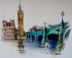 Fennelly Art (@ianfennelly) в Instagram: «London #westminsterbridge #usk #thames #urbansketch #citysketch #pensketch #bigben #art_collective #sketch #sketching #architecture #london