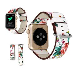 Manufacturer Leather Loop for iwatch 4 3 2 1 Strap for Apple Watch Band Flower Design Best Apple Watch, Apple Watch Faces, Apple Watch Bands Fashion, Country Jewelry, Metal Buckles, Leather Fashion, Fashion Music, Series 3, Black Silver