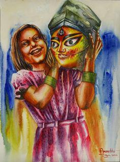 Durga Maa Paintings, Durga Painting, Indian Art Paintings, Watercolor Art Face, Watercolor Paintings, Flip Flop Art, Bengali Art, Mata Rani, Mini Canvas Art