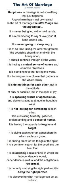 Wedding Quotes : A wonderful poem by Wilferd A. Peterson about the art of marriage read at Paul