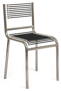 René Herbst, chaise en tubes métalliques et sandows, vers 1929. Acquisition récente du Musée des Arts Décoratifs à Paris.