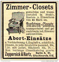 Original-Werbung/ Anzeige 1897 - ZIMMER CLOSETS / ZEPPERNICK & HARTZ - BERLIN - ca. 45 x 45 mm