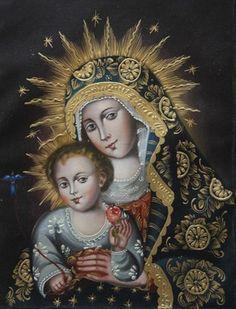 "Madonna & Child Cuzco School Oil Painting On Canvas  16""H x 12""W"
