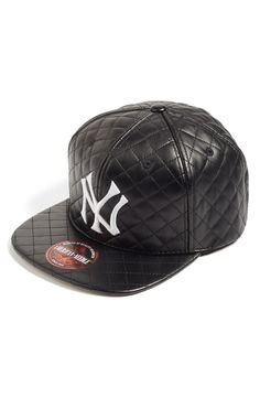 1c8e57ba72f  New York Yankees - Quilted  Faux Leather Snapback Cap Leather Snapback