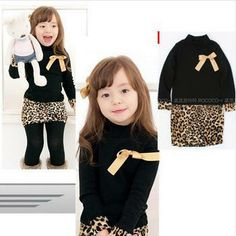Leopard Dress Baby Girls Clothes dress stitching bow winter high collar bottoming shirt hot autumn 2013 black ribbon corsage