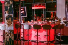 Orange basketball theme Bar Mitzvah.  Backlit bar. By Diana Gould Ltd. Photographyed by © Michael Jurick