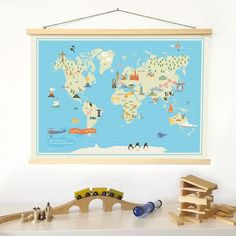 World map nursery illustrated poster kids animal world map boys baby world map nursery illustrated poster kids animal world map gumiabroncs Gallery